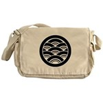 Overlapping waves in circle Messenger Bag