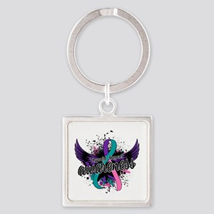 Thyroid Cancer Awareness 16 Square Keychain