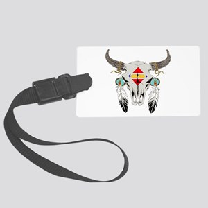 Bison Skull Indian Large Luggage Tag