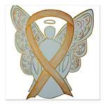 Amber Ribbon Angel Square Car Magnet 3