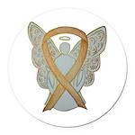 Amber Ribbon Angel Round Car Magnet