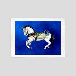 Carousel Horse on Dark Blue 5'x7'Area Rug