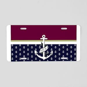 Nautical Monogram Aluminum License Plate