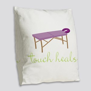 Touch Heals Table Burlap Throw Pillow