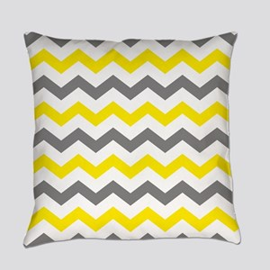 Yellow and Gray Chevron Pattern Everyday Pillow