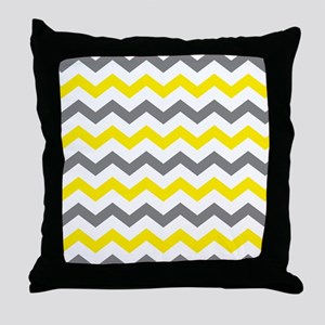 Yellow and Gray Chevron Pattern Throw Pillow