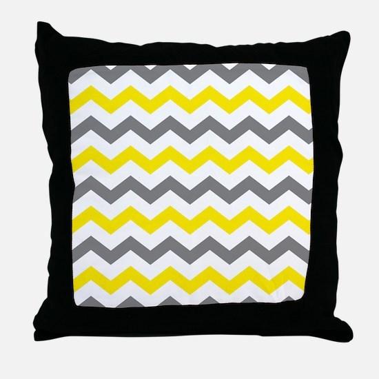 Yellow and Gray Chevron Pattern Throw Pillow