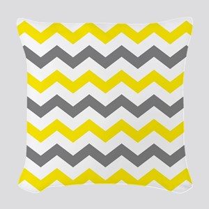 Yellow and Gray Chevron Pattern Woven Throw Pillow