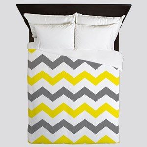 Yellow and Gray Chevron Pattern Queen Duvet