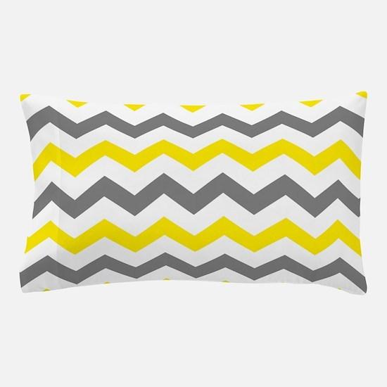 Yellow and Gray Chevron Pattern Pillow Case