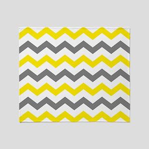 Yellow and Gray Chevron Pattern Throw Blanket