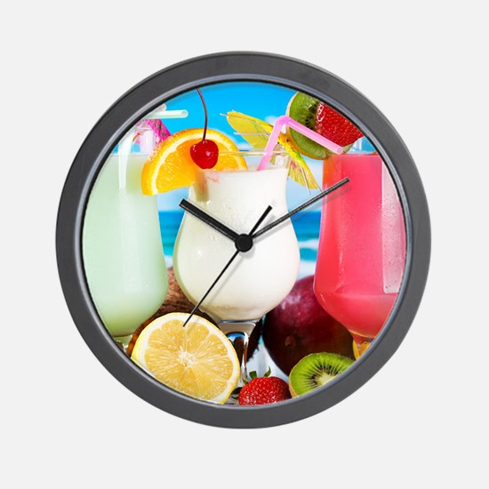 Exotic Summer Cocktails Wall Clock