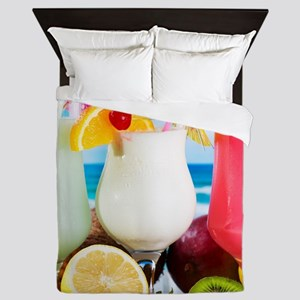 Exotic Summer Cocktails Queen Duvet