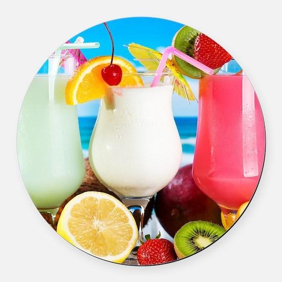 Exotic Summer Cocktails Round Car Magnet