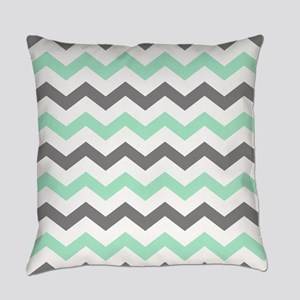 Mint and Gray Chevron Pattern Everyday Pillow