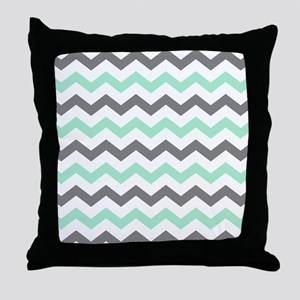 Mint and Gray Chevron Pattern Throw Pillow