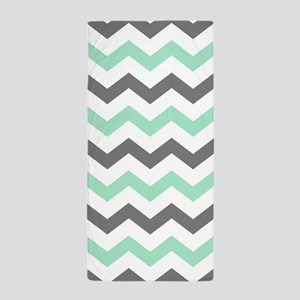Mint and Gray Chevron Pattern Beach Towel