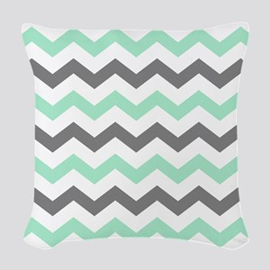 Mint and Gray Chevron Pattern Woven Throw Pillow