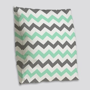 Mint and Gray Chevron Pattern Burlap Throw Pillow