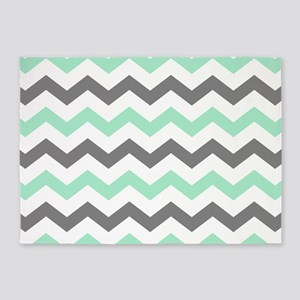 Mint and Gray Chevron Pattern 5'x7'Area Rug