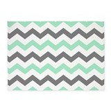 Mint and gray chevron 5x7 Rugs