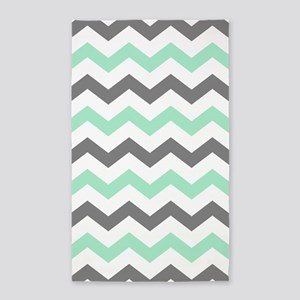 Mint and Gray Chevron Pattern Area Rug