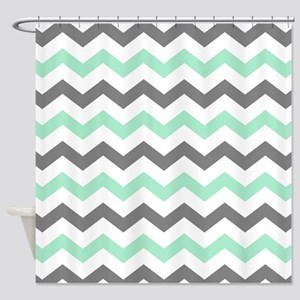 Mint and Gray Chevron Pattern Shower Curtain