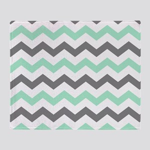 Mint and Gray Chevron Pattern Throw Blanket