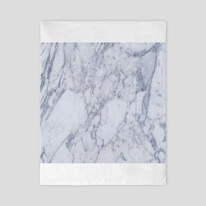 Realistic White Faux Marble Stone Patte Twin Duvet