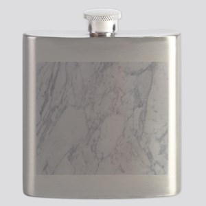 Realistic White Faux Marble Stone Pattern Flask