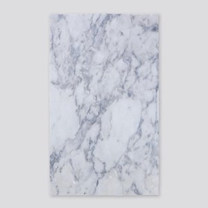 Realistic White Faux Marble Stone Pattern Area Rug