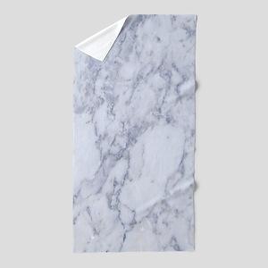 Realistic White Faux Marble Stone Patt Beach Towel