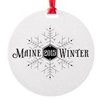 Maine Winter Snowflake Round Ornament