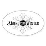 Maine Winter Snowflake Sticker (Oval 50 pk)
