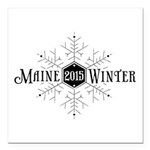 Maine Winter Snowflake Square Car Magnet 3