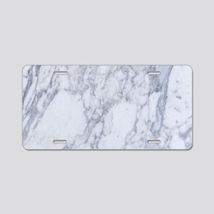 Realistic White Faux Marble Aluminum License Plate