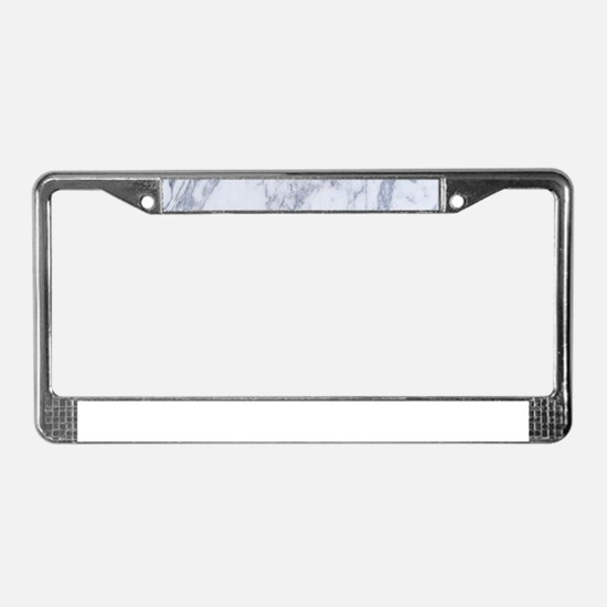 Realistic White Faux Marble St License Plate Frame