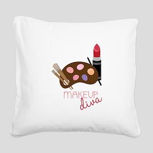 Makeup Diva Square Canvas Pillow