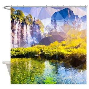 Mountain And Waterfall Landscape Shower Curtains