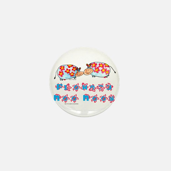 Flowery Moo-Moos Mini Button