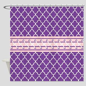 Purple And White Quatrefoil Shower Curtain