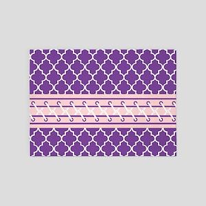 Purple and White Quatrefoil 5'x7'Area Rug