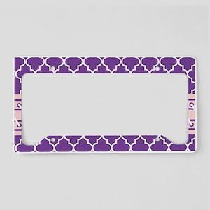 Purple and White Quatrefoil License Plate Holder