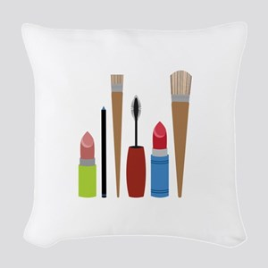 Makeup Tools Woven Throw Pillow