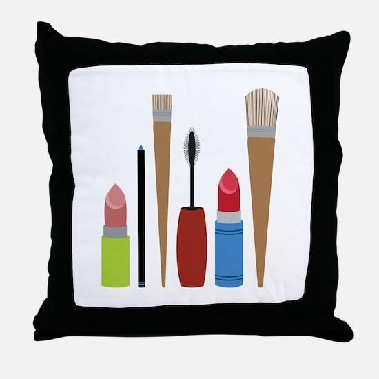Makeup Tools Throw Pillow