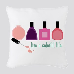 Colorful Life Nail Polish Woven Throw Pillow