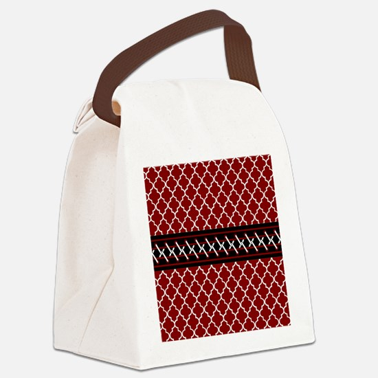 Black Red and White Quatrefoil Canvas Lunch Bag