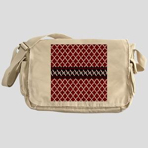 Black Red and White Quatrefoil Messenger Bag