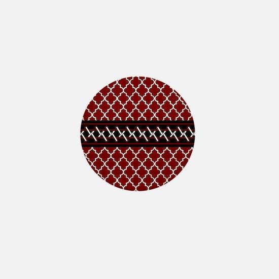 Black Red and White Quatrefoil Mini Button