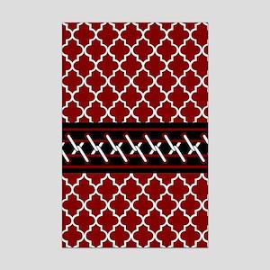 Black Red and White Quatrefoil Mini Poster Print